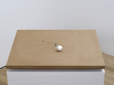 Zimoun, '1 prepared dc-motor, cotton ball, mdf 60x60cm', 2013