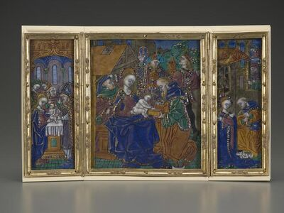 Master of the Orléans Triptych, 'Triptych: Circumcision, Epiphany, Nativity', date unknown