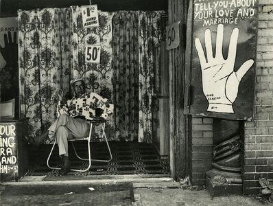 Leon Levinstein, 'Palm reading establishment', 1970
