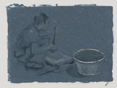 Sigrid Holmwood, 'He Xiu Jun beating bark to make paper pulp ', 2011