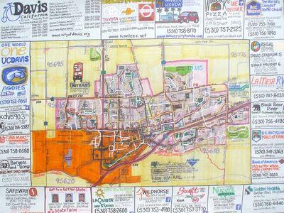 Joe Zadivan, 'Street Bike Map Of Davis, California', 2014