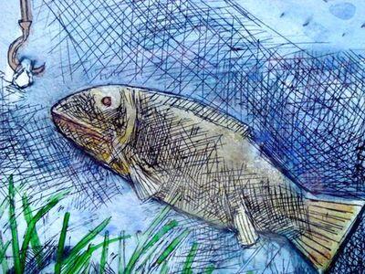 "Ganesh Pyne, 'Fish, Mixed Media Painting, Blue, Green, influenced by Abanindranath Tagore ""In Stock""'"