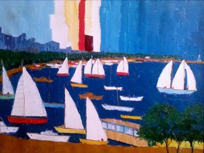 Campanile, 'Marine Oil Painting Sailing Scene in Harbor 1970', 20th Century