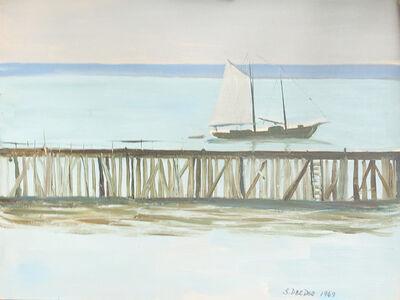 Salvatore Del Deo, 'Schooner in Harbor', 1969