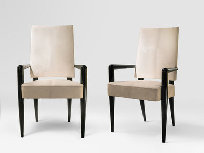 "Jean Royère, ' Pair of ""bridge"" armchairs', 1950"
