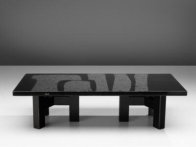 Ado Chale, 'Black Resin Coffee Table Inlayed with Hematite', 1970s