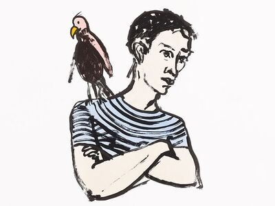Stephan Balkenhol, 'Mann mit Papagei', 1994
