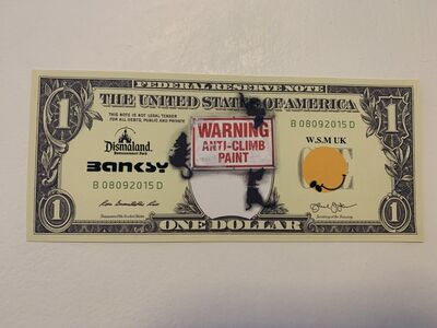 "Banksy, 'BANKSY DISMALAND US DOLLAR ""WARNING ANTI-CLIMB PAINT"", DISMAL DOLLAR, COMPLETE WITH COA', 2015"