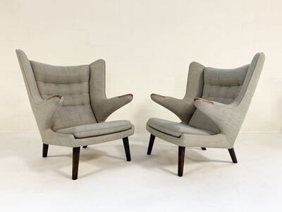 Hans Jørgensen Wegner, 'Important Pair of Papa Bear Chairs with Ottomans', 1950
