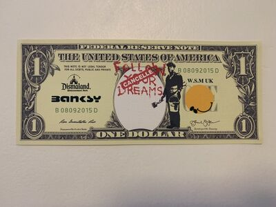 "Banksy, 'BANKSY DISMALAND US DOLLAR ""FOLLOW/CANCEL YOUR DREAMS"", DISMAL DOLLAR, COMPLETE WITH COA', 2015"
