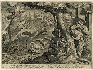 Jan Galle after Jan van der Straet, 'Cranes Catching Snakes'
