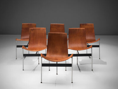 Katavolos, Littell & Kelly, 'Set of Six T-Chairs in Patinated Cognac Leather', 1952