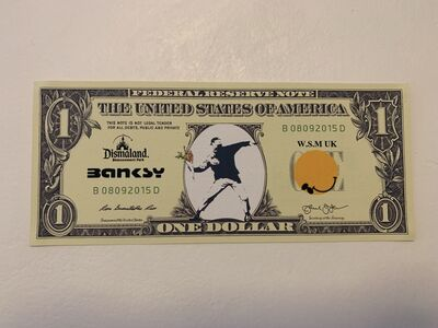"Banksy, 'BANKSY DISMALAND US DOLLAR ""FLOWER THROWER"", DISMAL DOLLAR, COMPLETE WITH COA', 2015"