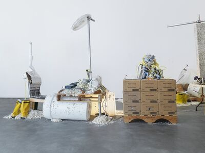 Jason Rhoades, 'Mixing Desk and Chair / Yellow Ribbon in Her Hair', 2002