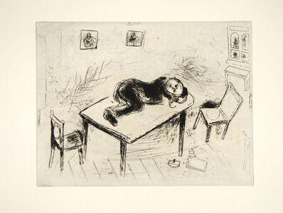 Marc Chagall, 'Tchitchikov Couchait au Bureau', 1948