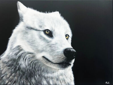 Kalipeinture, 'Loup blanc Arctique', 2019