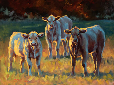 """Cheri Christensen, '""""Evening in the Field"""" oil painting of three light cows in a golden field', 2020"""