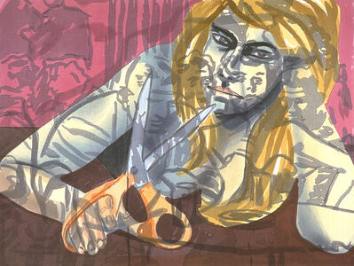 David Salle, 'Portrait with Scissors and Nightclub', 1988