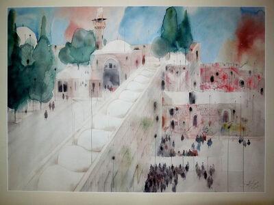 Shmuel Katz, 'Western Wall, Jerusalem Watercolor', 20th Century