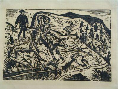 Ernst Ludwig Kirchner, 'Kühe und Hirten / Cows and Shepherds (300 II)', 1917
