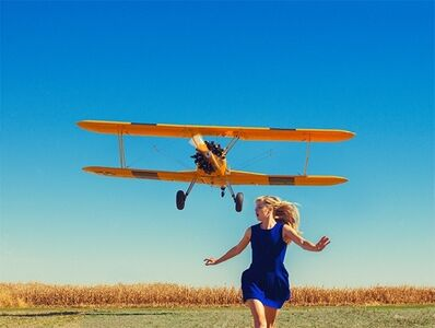 Tyler Shields, 'Girl Running From Plane', 2015
