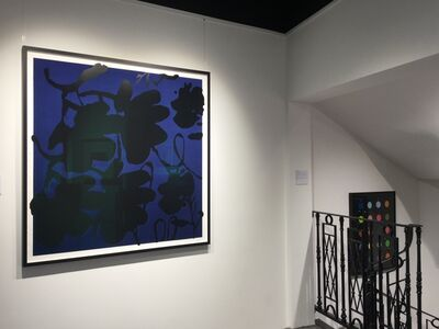 Donald Sultan, 'Lantern Flowers, Black and Blue FRAMED', 2017