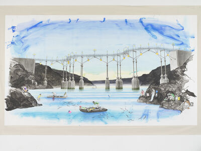 Charles Avery, 'Untitled (Eel fishing beneath the bridge (Era of the Pentagon)', 2021
