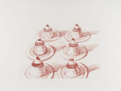 Wayne Thiebaud, 'Six Desserts, from Recent Etchings II', 1979
