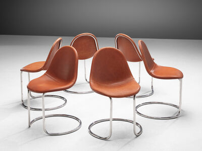 Giotto Stoppino, 'Set of 'Maya' Chairs in Cognac Leather', 1969