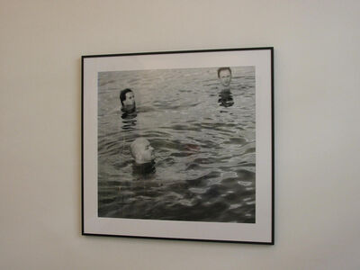 """G.R.A.M., 'from the series Global Player """"Mao, foreground, supposedly swimming in the yangtze river after a mysterious disappearance and rumours of stroke""""', 2006"""