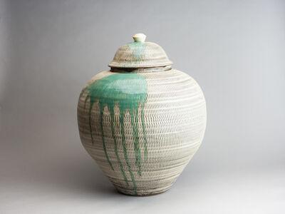 Onda Yaki, 'Large Jar with Tobikanna (Blade Skip) Design and Splashed Glazing', n/a