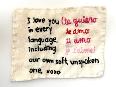 Iviva Olenick, 'I love you in every language - love narrative embroidery on vintage beige fabric', 2019