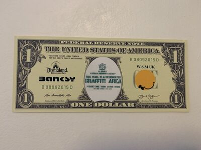 "Banksy, 'BANKSY DISMALAND US DOLLAR ""GRAFFITI AREA"", DISMAL DOLLAR, COMPLETE WITH COA', 2015"