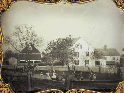 Unknown, 'Children Playing in a Schoolyard in Late Fall or Winter, ¼ plate daguerreotype', 19th Century
