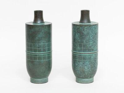 Haguda Shogoro, 'Pair of Green Patinated Bronze Vases', ca. 1980