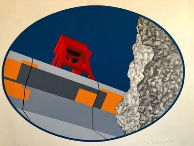Allan D'Arcangelo, 'Pop Art Abstract American Hard Edged Landscape with Bridge', 1970-1979