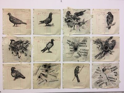 William Kentridge, 'Drawing for The Head & The Load (Twelve Birds)', 2018