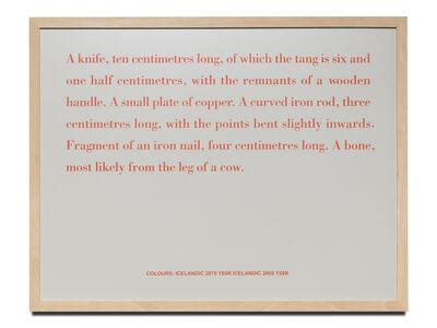 Birgir Andrésson, 'Still Life (A knife, ten centimetres long, of which the...)', 2000