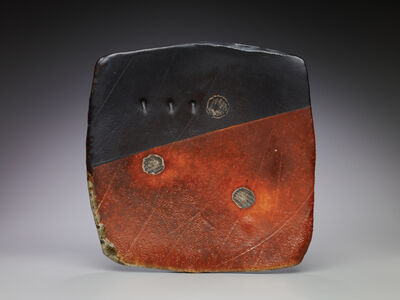 Randy Johnston, 'Sushi platter, flashing slip and black glaze with shell impressions'