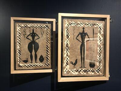 José Bedia, 'Untitled Amate Diptych', 2019