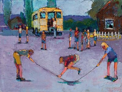 William Rushton, 'Flat Tire - Children playing jump rope with school bus', 2018