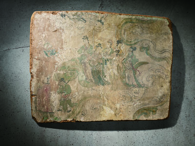 Unknown Artist, 'A Polychrome Fresco Fragment of Rectangular Form Painted with Six Female Attendants 元晚期 明早期14 15世紀 灰泥彩繪侍女圖壁畫殘部', China: late Yuan early Ming Dynasty-14 15th century