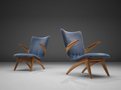G. van Os, 'Van Os Pair of Armchairs with Blue Upholstery', 1950s
