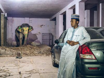 Mahesh Shantaram, 'Ameenou with elephant. Jaipur', 2016