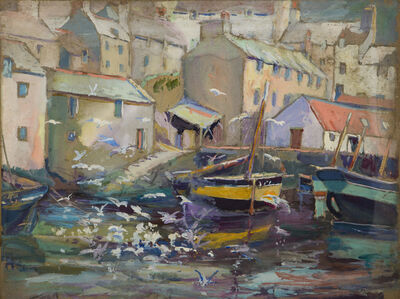 Gertrude Beals Bourne, 'Yellow Striped Boat (Gloucester, MA)', ca. 1920