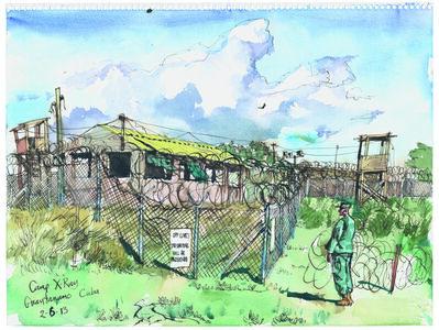 Steve Mumford, '2/6/13, Camp X-Ray, Guantanamo Bay, Cuba', 2013
