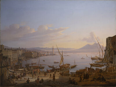 Frans Vervloet, 'View of Naples with the Lighthouse, and Vesuvius Beyond', 1830