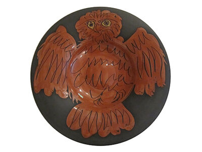 "Pablo Picasso, 'Plat ""hibou rouge fond noir"" (Red owl on black ground) ', 1957"