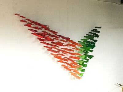 Blue and Joy, 'Paper Plane installation orange and green', 2016