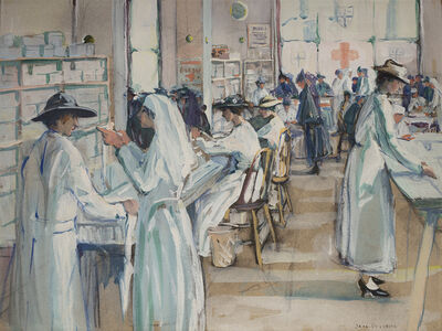 Jane Peterson, 'Red Cross Work Rooms', 1917